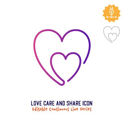 Love Care & Share Continuous Line Editable Icon