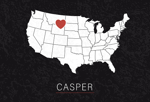 Love Casper Picture. Map of United States with Heart as City Point. Vector Stock Illustration