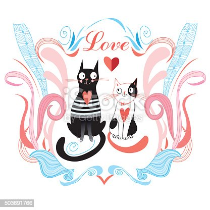 funny love cats and heart on a blue background