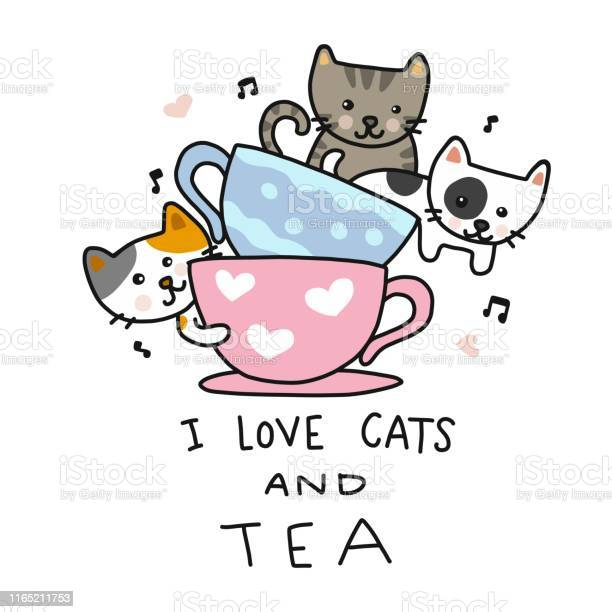 Love cats and tea cute cats in tea cup cartoon vector illustration vector id1165211753?b=1&k=6&m=1165211753&s=612x612&h=bvx0xypi8zzzrs69kkiupv5 eoc t0fpagrl8ke0kws=