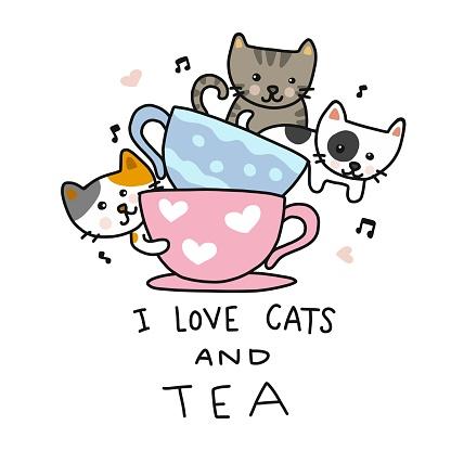 Download I Love Cats And Tea Cute Cats In Tea Cup Cartoon Vector ...