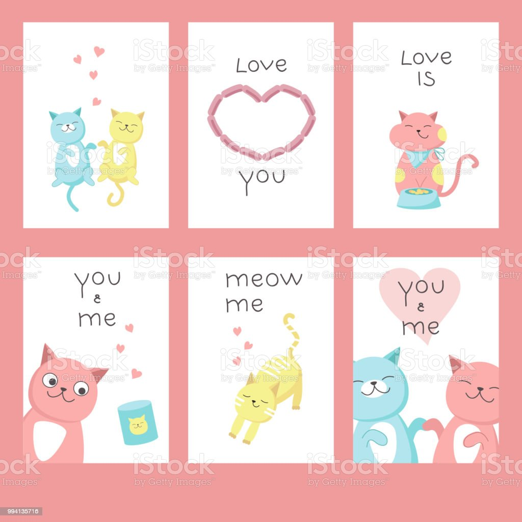 Love Cats Greeting Cards Vector Illustration Stock Vector Art More