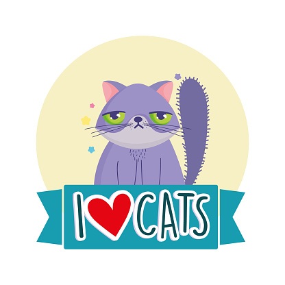 I love cats, grumpy cat pet feline cartoon