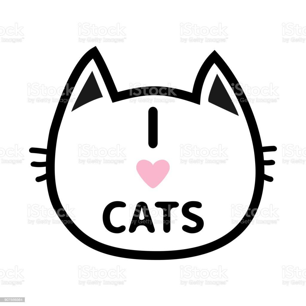 I Love Cats Heart Text Lettering Black Cat Head Face Contour