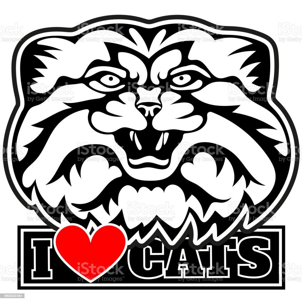 私は愛の猫のロゴマヌルネコの頭を猫ベクトル イラスト Tシャツの
