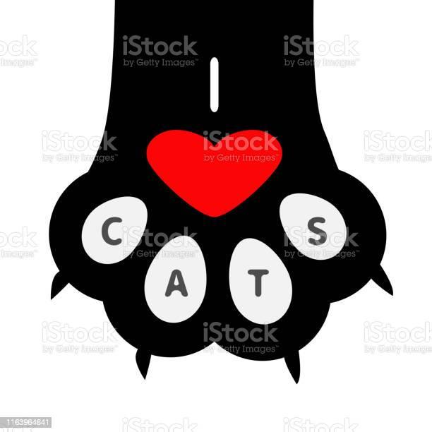 Love cats text big black cat paw print leg foot with nail claw cute vector id1163964641?b=1&k=6&m=1163964641&s=612x612&h=mf3fckaj iul z1wz5hl5o6bwe0erashhj2uek2yram=