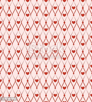 Seamless pattern with red chain and hearts