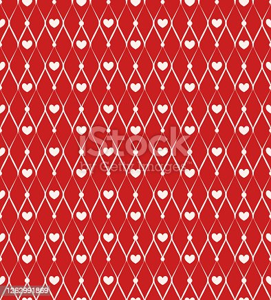Seamless pattern with chain and hearts on red background
