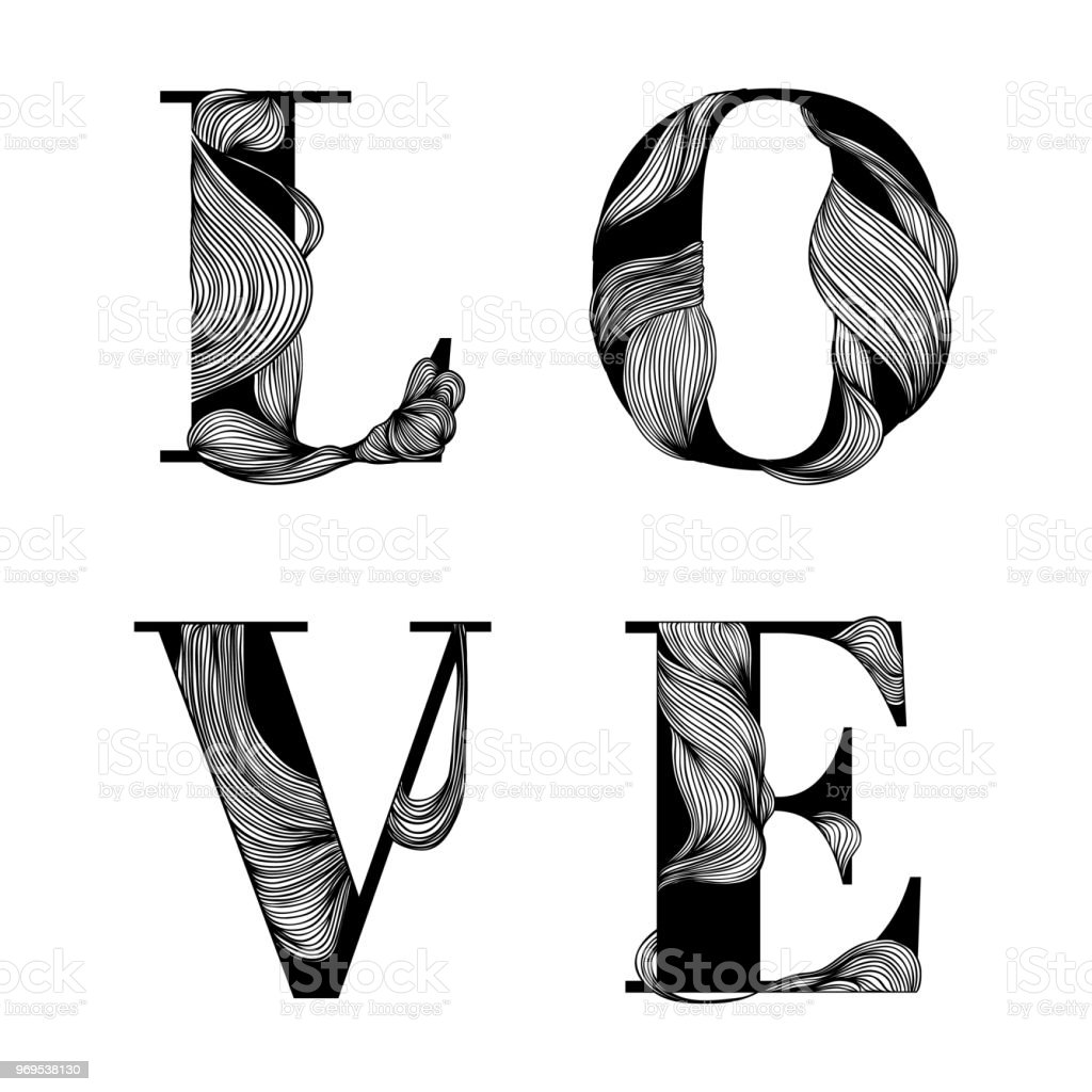 Love characters black and white line art ink drawing stock