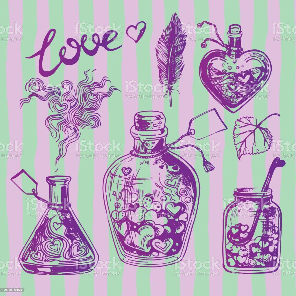 Love Chemistry Set vector art illustration