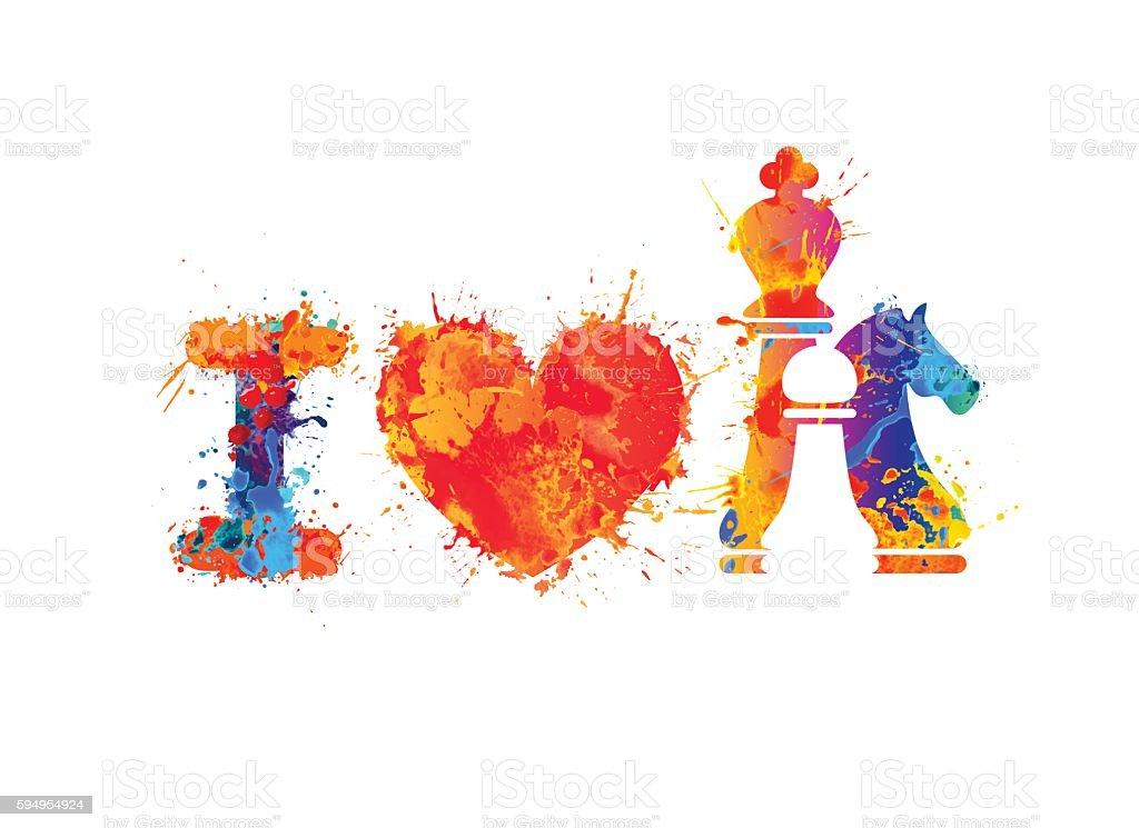 I love chess vector sign vector art illustration