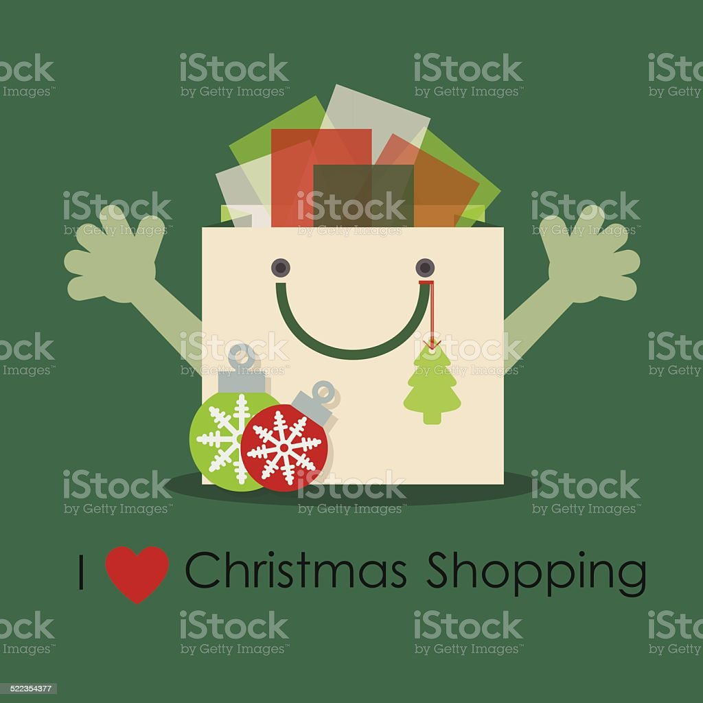 I love Christmas shopping-cute smiley gift bag with open hands