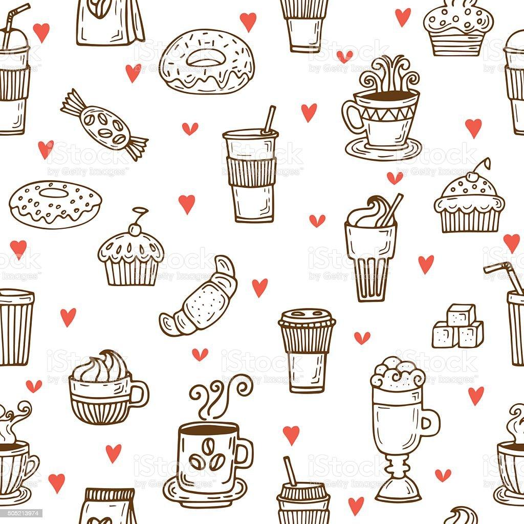 Amo Il Caffè Disegno A Mano Seamless Pattern Con Tazze Di