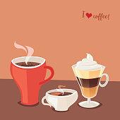 I Love Coffee. Three Coffee Cups. Vector illustration.