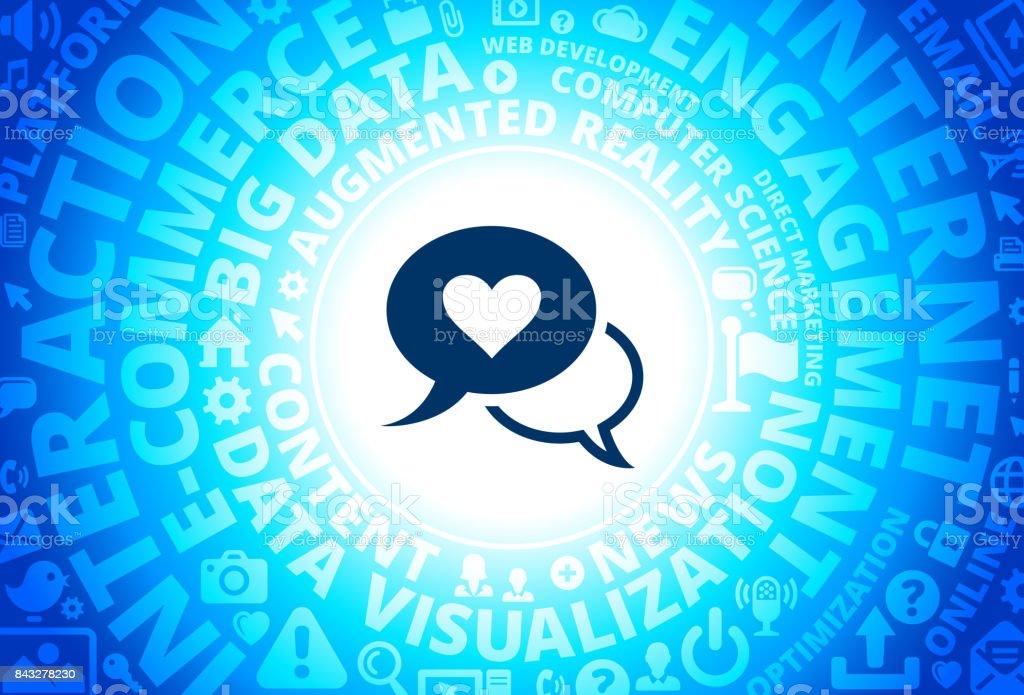 Love Communication Icon on Internet Modern Technology Words Background vector art illustration