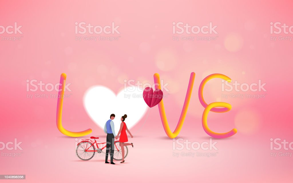 Love Concept Happy Valentines Day Wallpaper Poster Card Vector