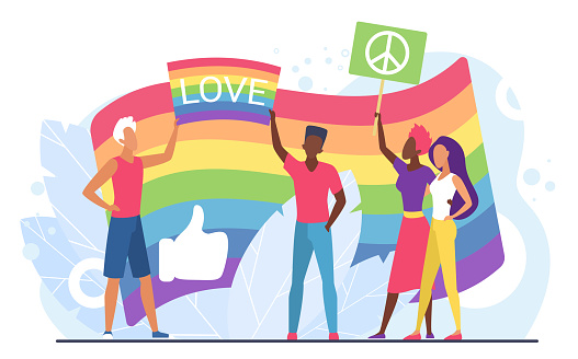 LGBT love concept vector illustration, cartoon flat homosexual people holding rainbow flag and placards with love word and peace symbol