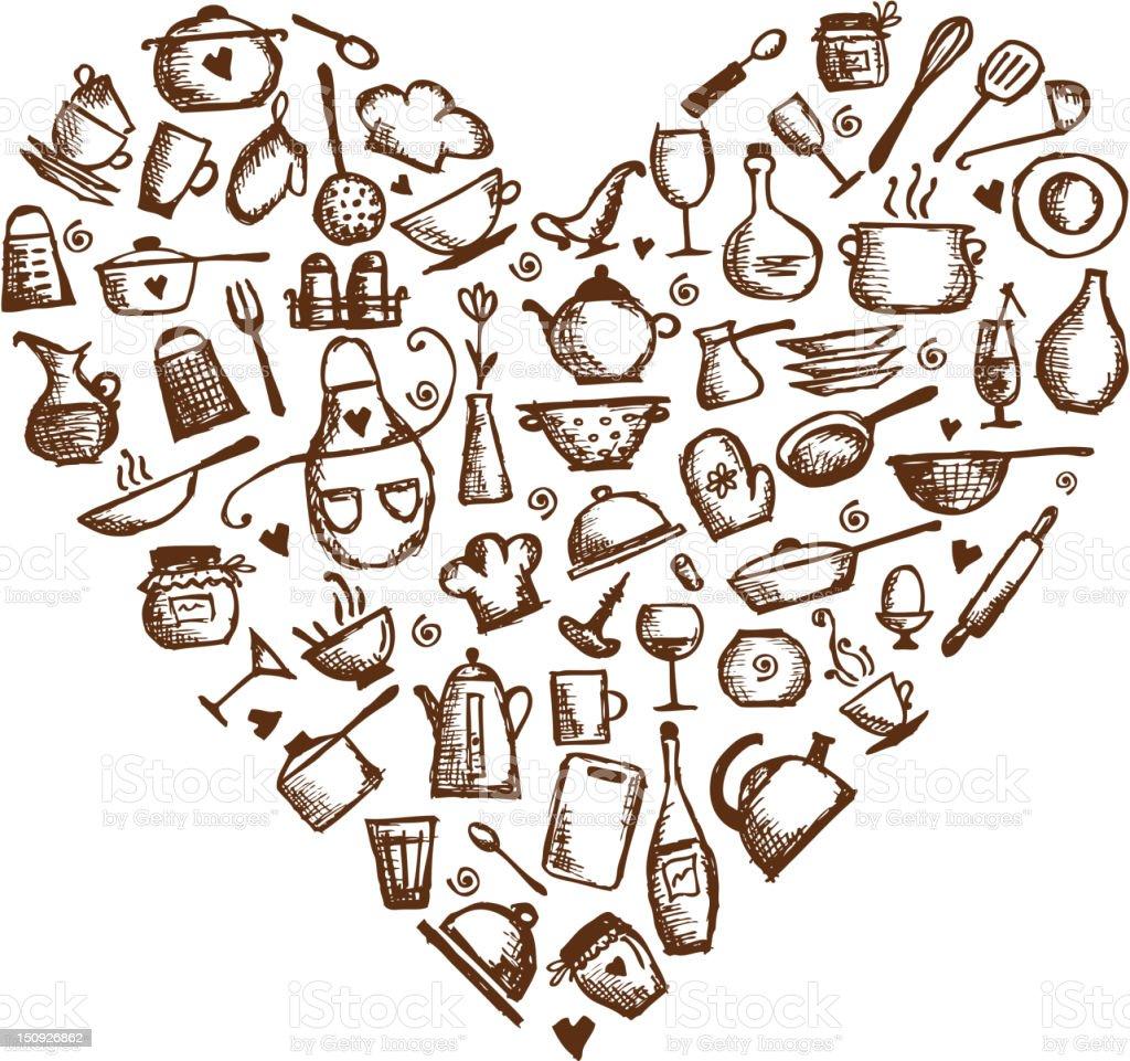 Adoro Culin Ria Utens Lios De Cozinha Desenho Em Forma De Cora O  ~ Desenho Utensílios De Cozinha