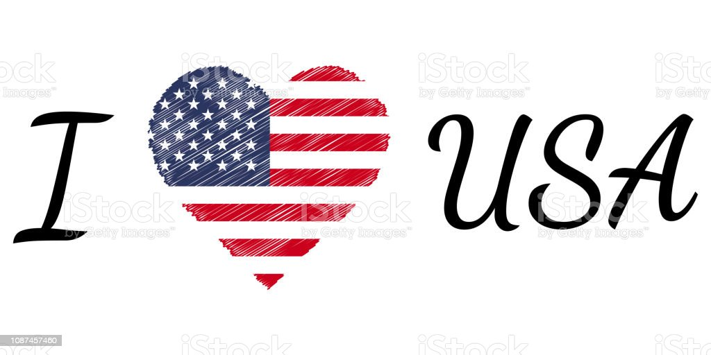 Download I Love Country Usa America Text Heart Doodle Vector ...