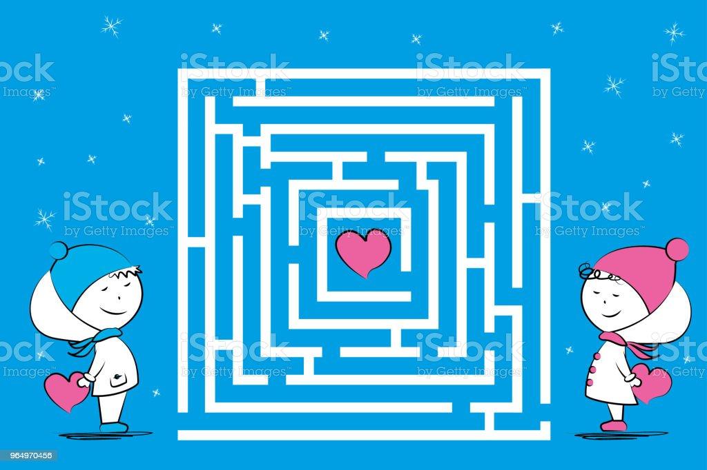 Ilustración de Amor Pareja Y Laberinto Juego Con Corazones ...