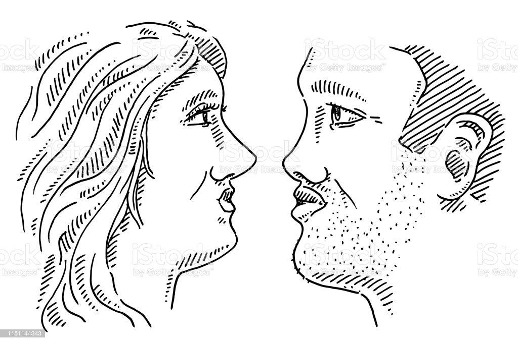 Amour Couple Visages Profil Dessin Vecteurs Libres De Droits