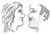 Love Couple Faces Profile Drawing