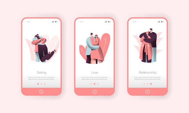 Love Couple People Hugging Mobile Application Screen Set. Man Hug Woman on Romance Dating. Happy Character Sweet Relationship Concept for Website or Web Page. Vector Flat Cartoon Illustration Love Couple People Hugging Mobile Application Screen Set. Man Hug Woman on Romance Dating. Happy Character Sweet Relationship Concept for Website or Web Page. Vector Flat Cartoon Illustration boyfriend stock illustrations
