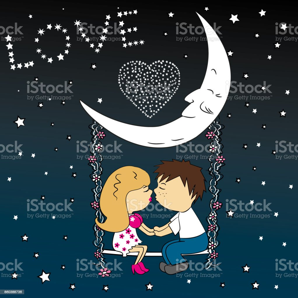 Love couple sitting at night on a swing attached to the moon. vector art illustration