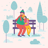 Love couple sitting on bench. Boy and girl. Postcard or greeting card design
