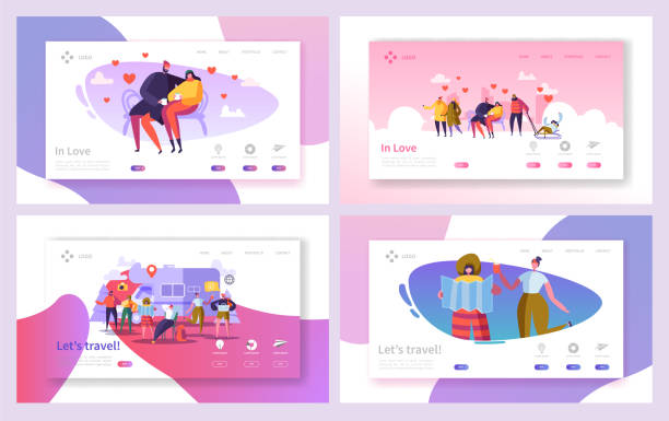love couple travel in park landing page set. romantic people dating on bench outdoor. happy hipster character vacation lifestyle concept for web page. flat cartoon vector illustration - date night stock illustrations