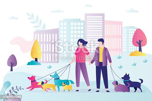istock Love couple walks with pets in park. Dog active walkers with leash. Weekend, people spend time together. 1285501040