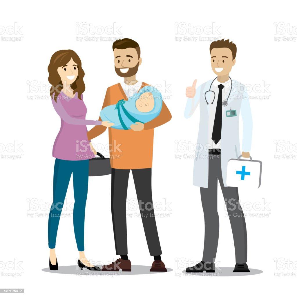 Amor pareja con bebé recién nacido y el doctor - ilustración de arte vectorial