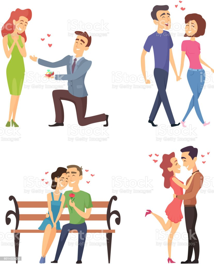 Love couples celebrating valentines day. Funny lovely characters in flat style vector art illustration