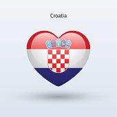 Love Croatia symbol. Heart flag icon.
