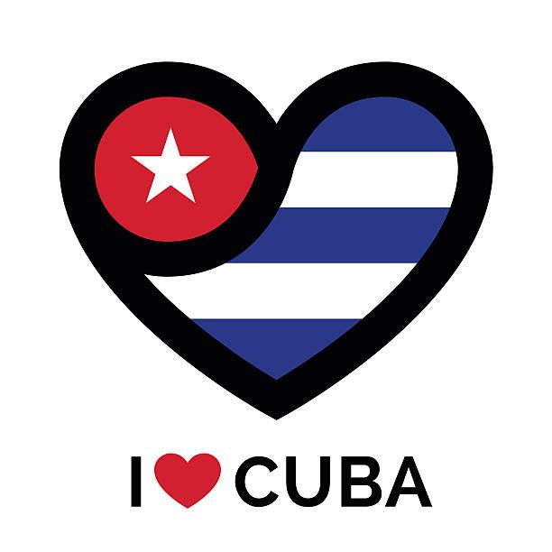 Me encanta Cuba banner icono con corazón y bandera - ilustración de arte vectorial