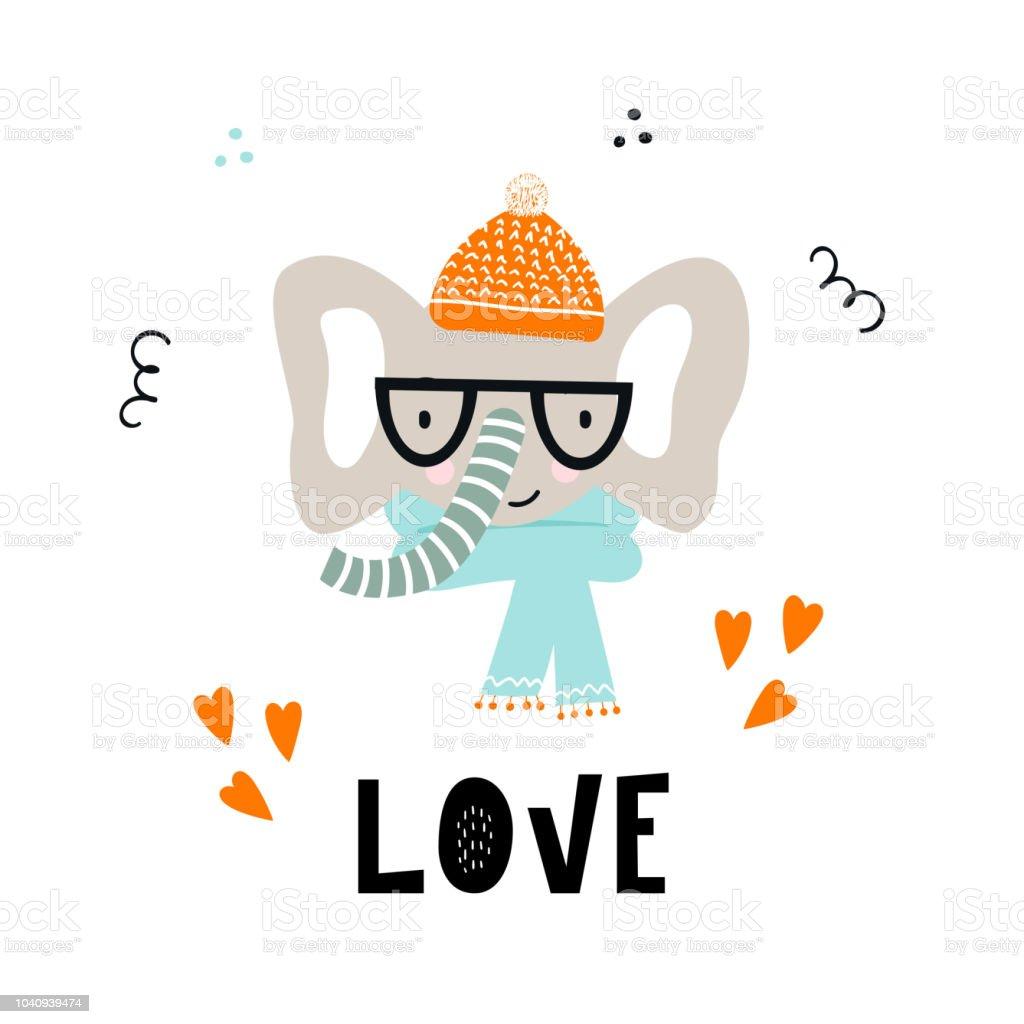 Ilustración de Amor Linda Mano Cartel Vivero Dibujado Con Animal ...
