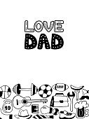 Love Dad greeting card in doodle style. Men's lifestyle, sports equipment, clothes and accessories.