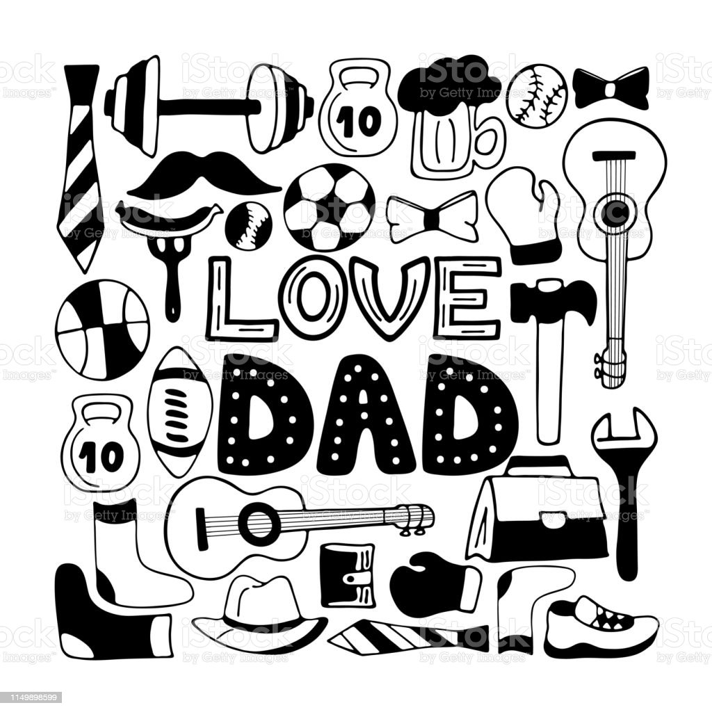 Love Dad holiday banner in doodle style. Men\'s lifestyle, sports...