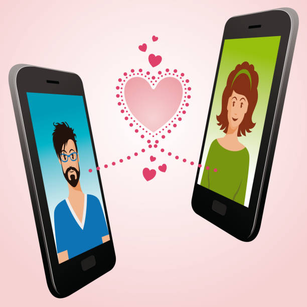 Love Dating Digital App Beautiful Vector Illustration of a Love Dating Digital Application on Mobil Phone, with a men and woman linked by a digital Pink Heart online dating stock illustrations