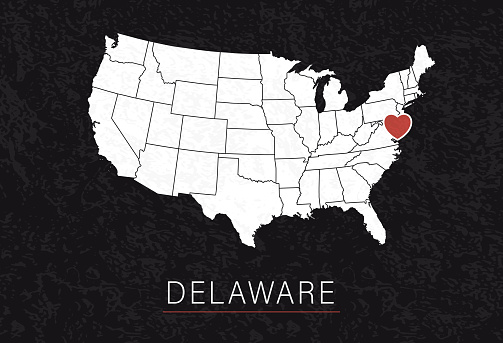 Love Delaware Picture. Map of United States with Heart as City Point. Vector Stock Illustration