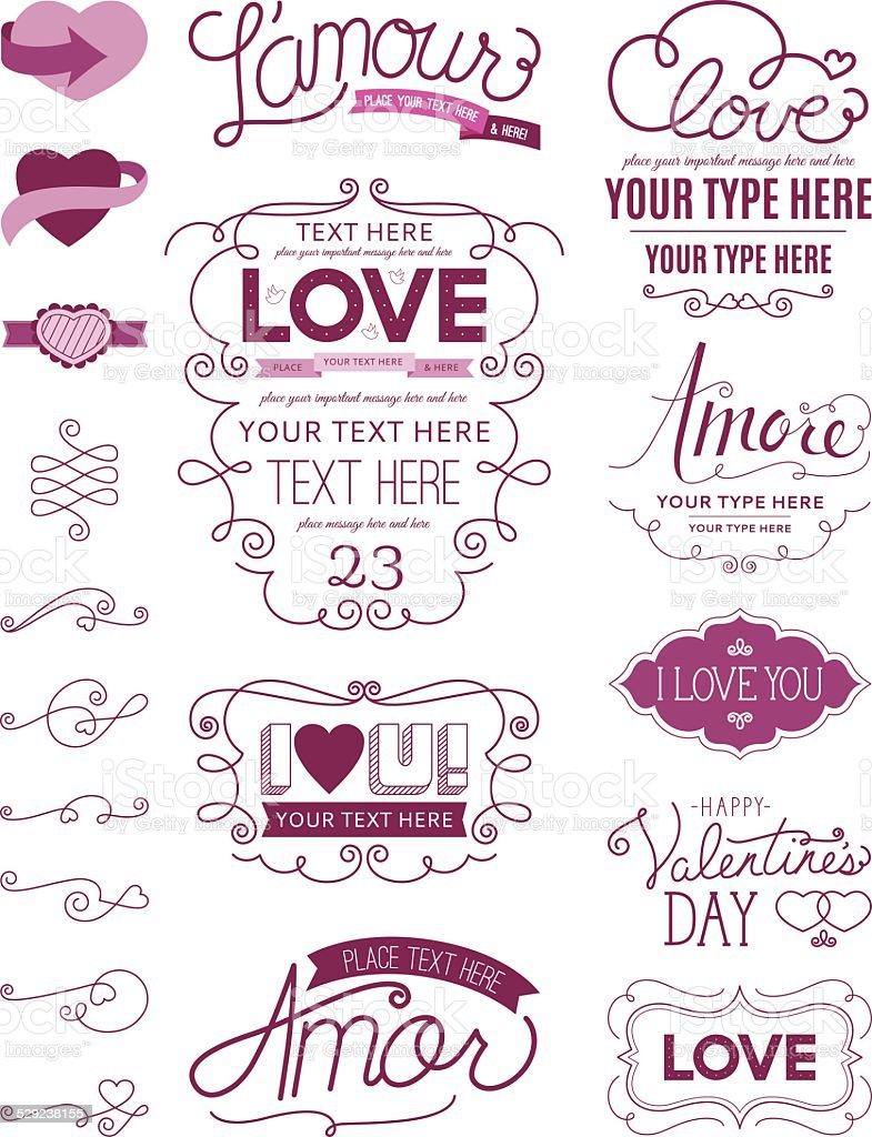 Love Design Elements vector art illustration