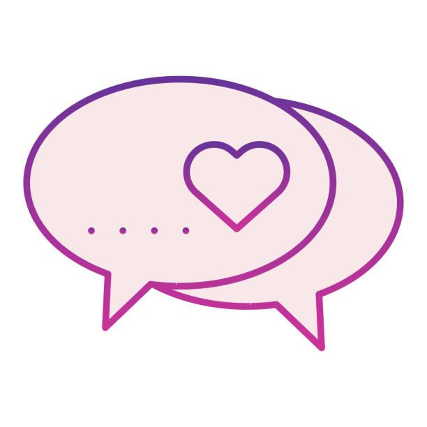stockillustraties, clipart, cartoons en iconen met liefde dialoog plat pictogram. romantische berichten met hartsymboolillustratie die op wit wordt geïsoleerd. liefde chat speech bubble gradiënt stijl ontwerp, ontworpen voor web en app. eps 10. - flirten