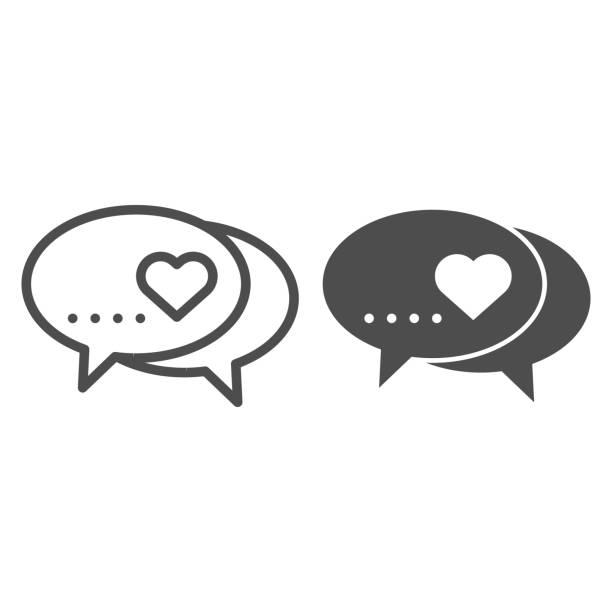 stockillustraties, clipart, cartoons en iconen met liefde dialoog lijn en solide pictogram. romantische berichten met hartsymboolillustratie die op wit wordt geïsoleerd. liefde chat speech bubble overzicht stijl ontwerp, ontworpen voor web en app. eps 10. - flirten