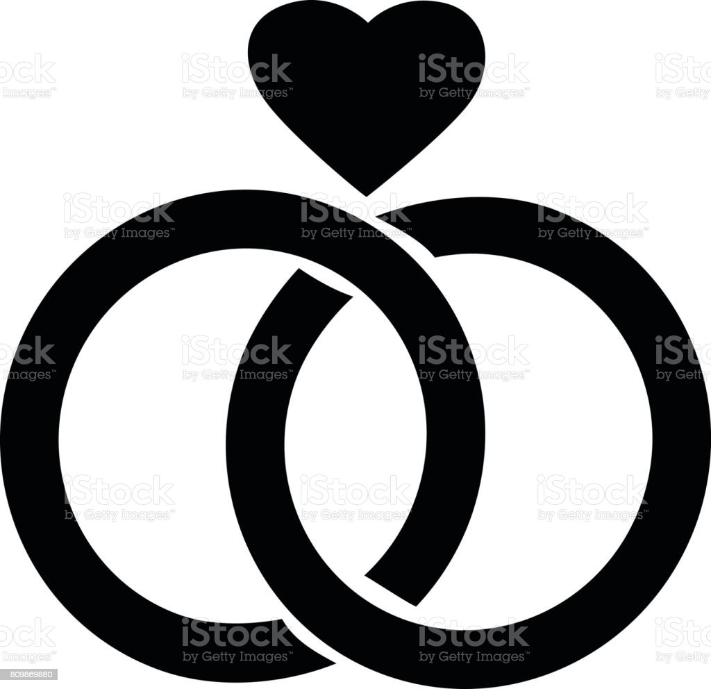 Love Diamond Ring Symbol vector art illustration