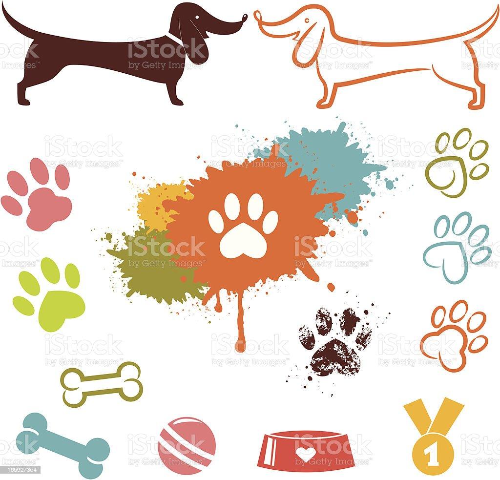 Love dog icon set vector art illustration
