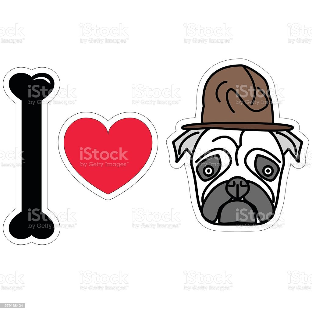 676296991c0 I Love Dogs Pugs Sticker Style With Military Style Hat Stock Vector ...
