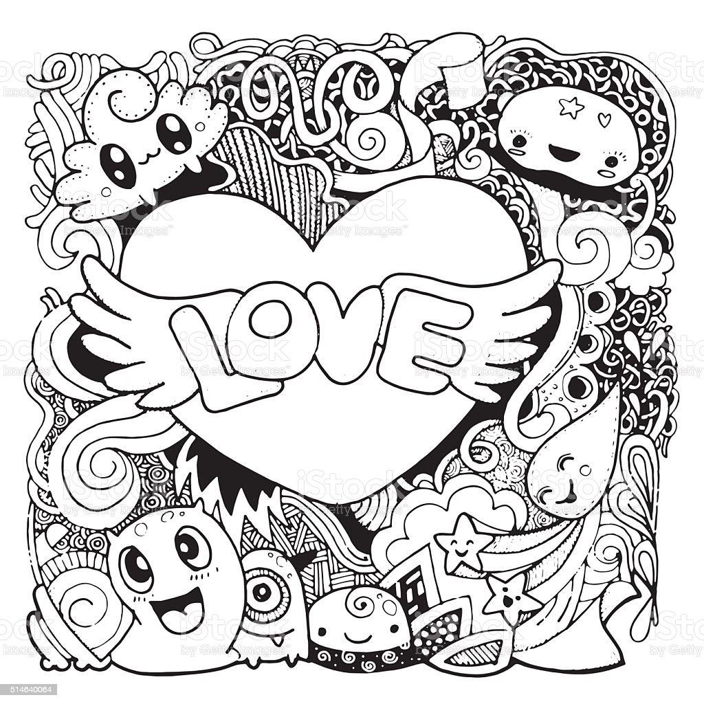 Amor Desenhos Mao Desenhar Coracao E Palavras De Amor Desenhos