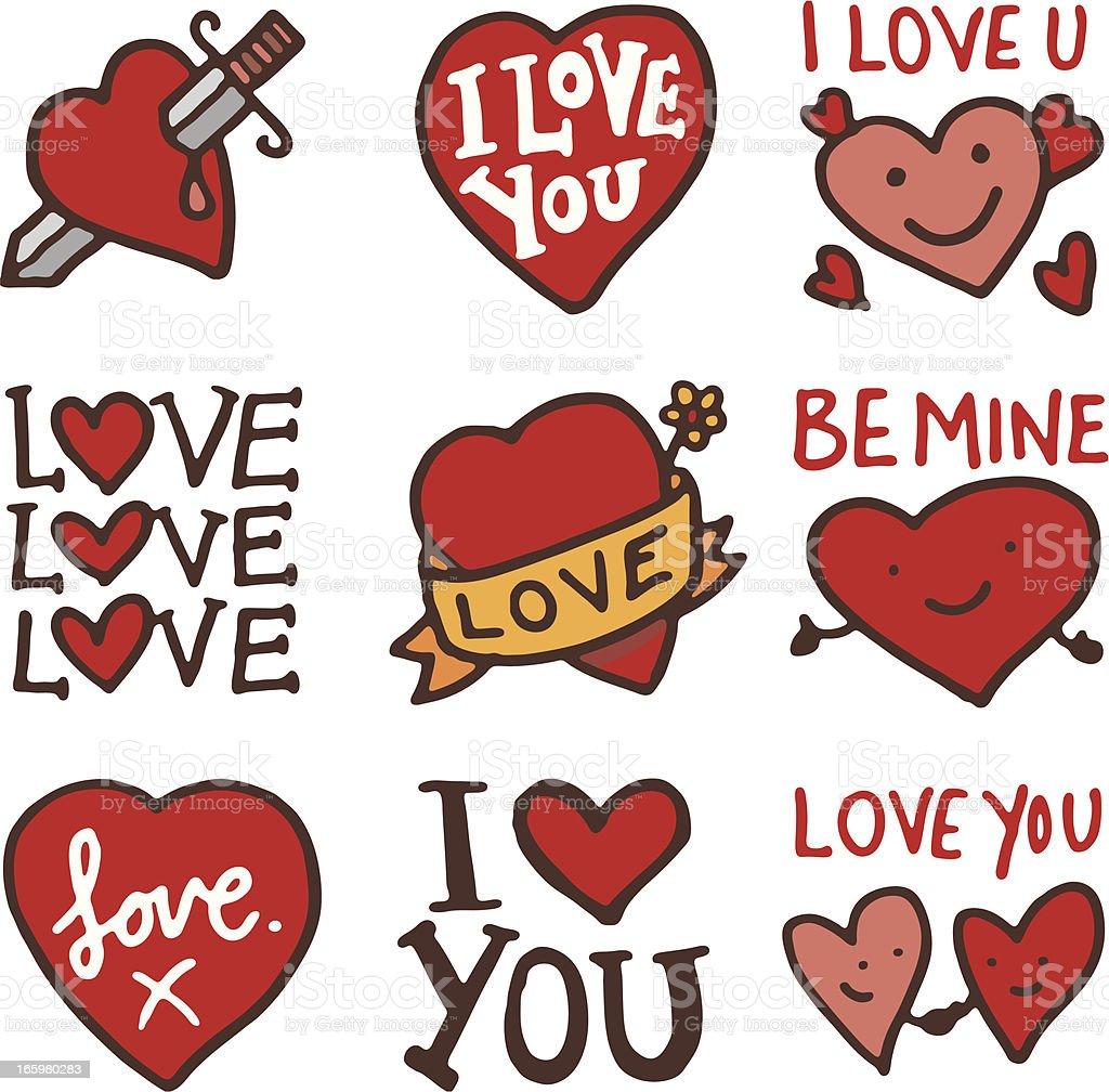 Love doodle icon-set – Vektorgrafik