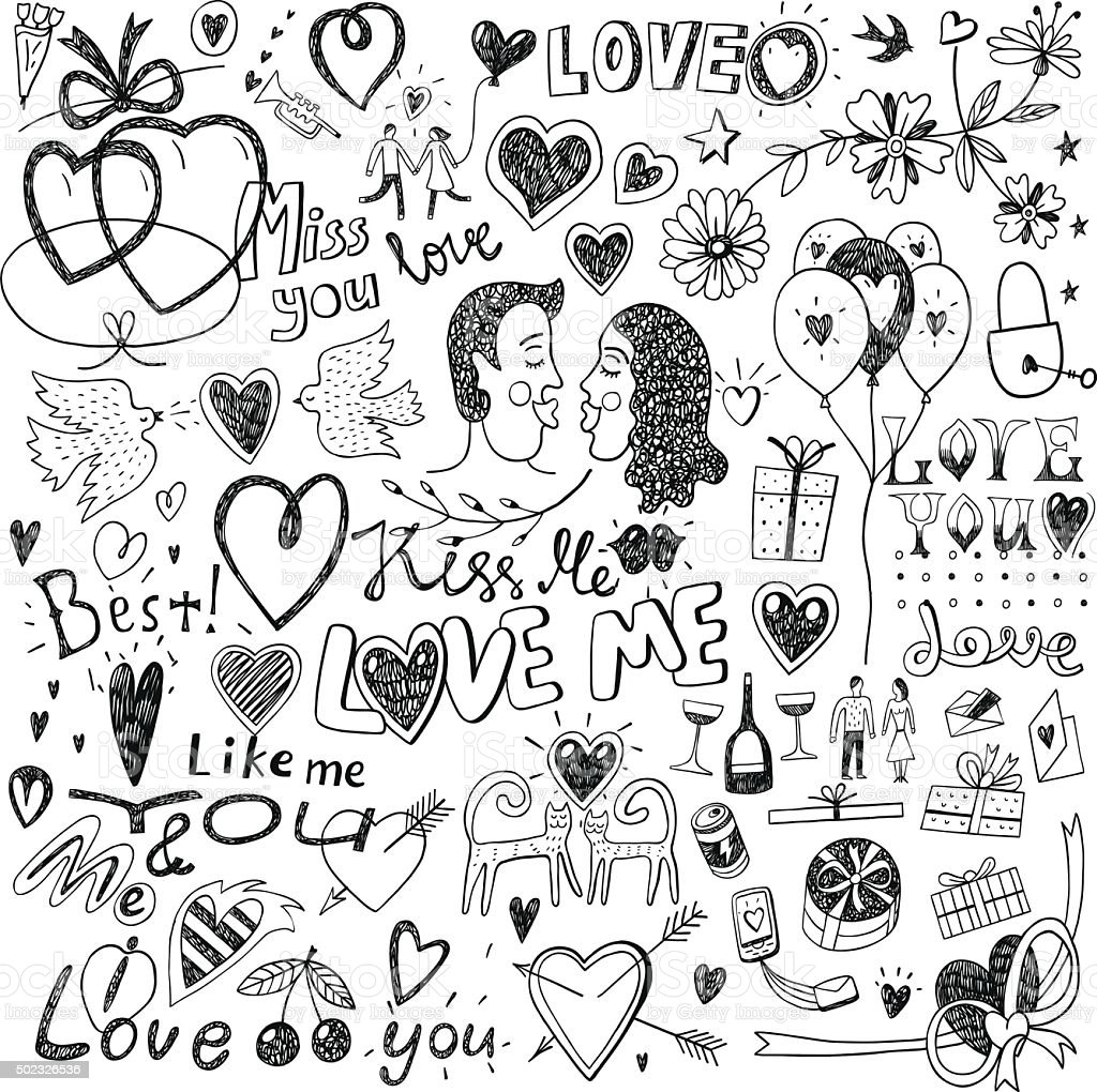 love doodles vector art illustration