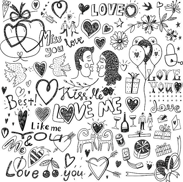 love doodles love - set icons in sketch style , design elements cat valentine stock illustrations